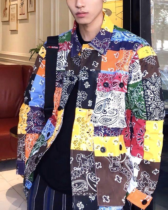 マルチカラーパッチワークバンダナシャツジャケットの画像2